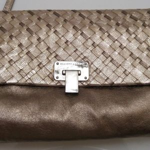 Elliot Lucca Gold and Bronze leather Clutch New